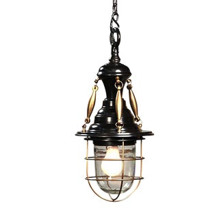 Industrial Brass Black Lantern