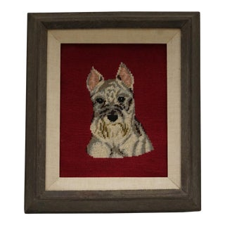 Wood Framed Needlepoint Of A Schnauzer