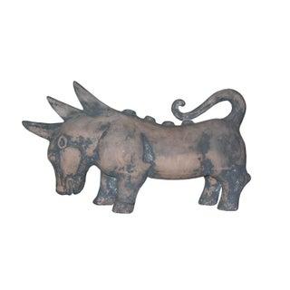 Rare Han Dynasty Pottery Statue of Rhino-Like Mythical Beast