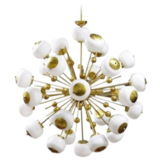 Italian Brass and Glass Sputnik Chandeliers