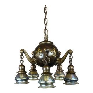 Heavy Colonial Ball Light Fixture with Lotez Art Glass (5-Light)