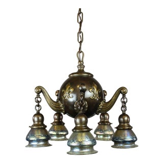 Heavy Colonial Ball Light Fixture with Lotez Art Glass (5-Light)