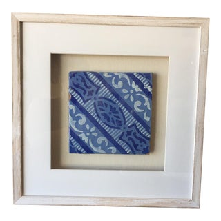 Framed Italian Antique Blue & White Tile