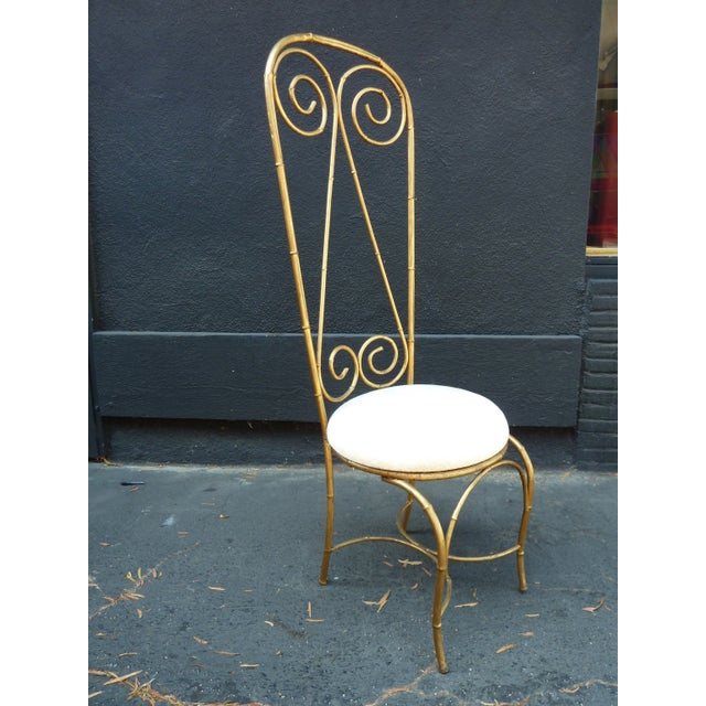 Mid-Century Whimsical Gilded High Back Chair - Image 3 of 4
