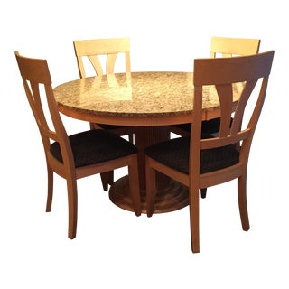 Saloom Natural Maple & Granite Top Dining Set