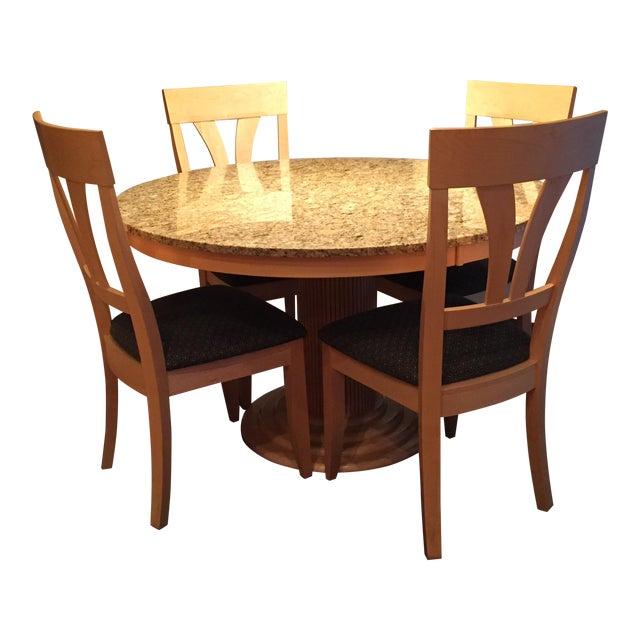 Saloom Natural Maple & Granite Top Dining Set