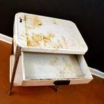 Image of Vintage White Metal Enamel Rolling Exam Cart
