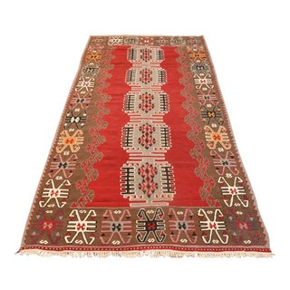 "Antique Turkish Red Kilim Wool Rug - 4'1"" x 9'1"""