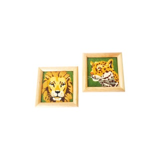 Vintage Wild Cat Needlepoint Wall Hangings - Set of 2