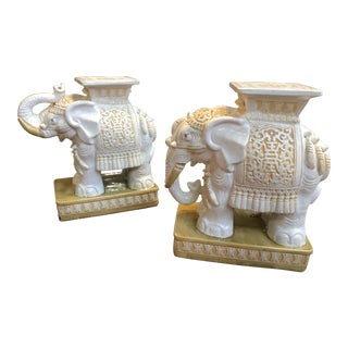 Porcelain Elephant Garden Stools - A Pair