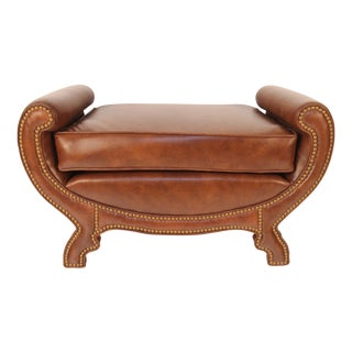 Art Deco Style Leather Bench