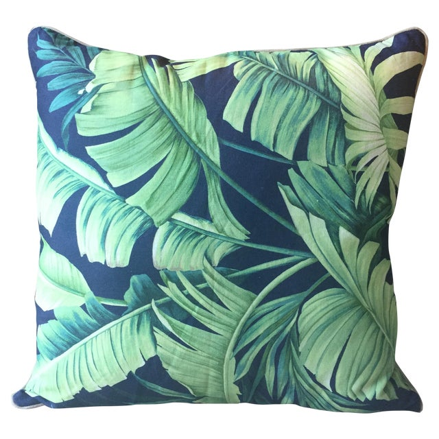 Palm Print Regency-Style Pillow Covers - A Pair - Image 2 of 5