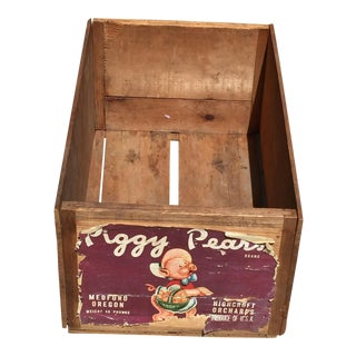 Vintage Rustic Wood Fruit Crate Piggy Pears