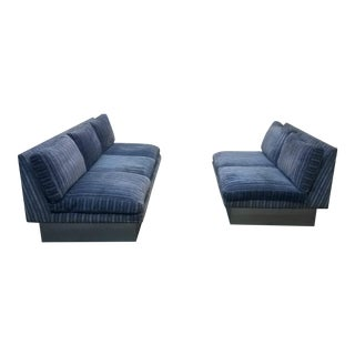 Pair of Mid Century Chrome Plinth Base Sectional Sofas by Milo Baughman for Thayer Coggin