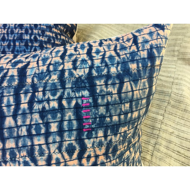 Vintage African Indigo Textile Pillows, S/2 - Image 3 of 6