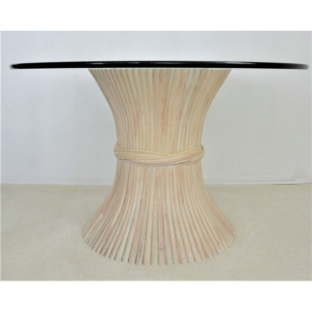 McGuire Wheat Sheaf Bamboo Rattan Dining Table With Thick Round Glass Top Organic Mid Century Modern MCM Millennial - Image 3 of 11