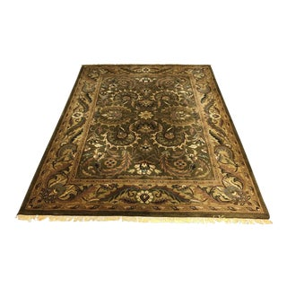 Antiquity Collection Green Wool Rug Hand Woven in India - 8′ × 11′