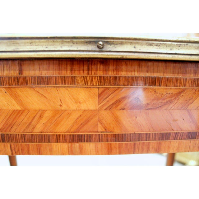 French Louis XV Style Brass Bound Marquetry Occasional Table - Image 9 of 11