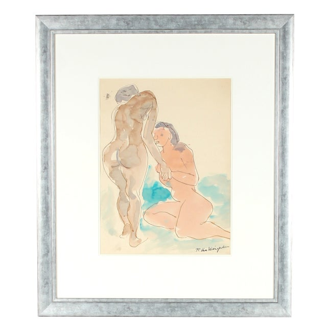 Image of Mid Century Watercolor Painting - Figures