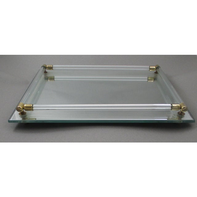 Image of Lucite & Brass Vintage Vanity Tray