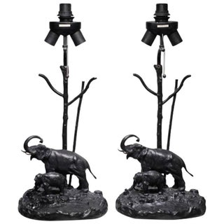 Bronze Elephant Table Lamps - A Pair
