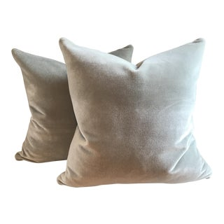 Skylight Blue 100% Mohair Velvet Pillows - a Pair