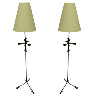 Pair of French 1940s Partially Gilt and Hand-Hammered Iron Floor Lamps