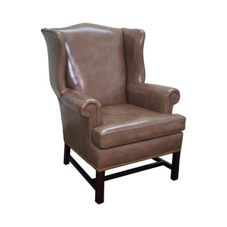 Hancock & Moore Leather Chippendale Wing Chair