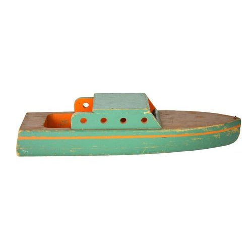 Vintage Green Wooden Toy Boat - Image 2 of 5