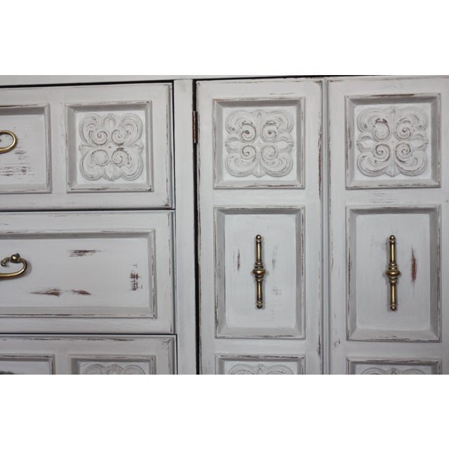 Carved Wood Detailed Gray Dresser - Image 6 of 11