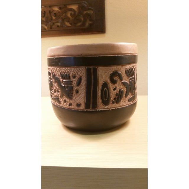 Vintage Mexican Oaxacan Negro Incised Planter - Image 5 of 5