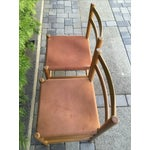 Image of Perriand Style Birch & Leather Chairs - A Pair
