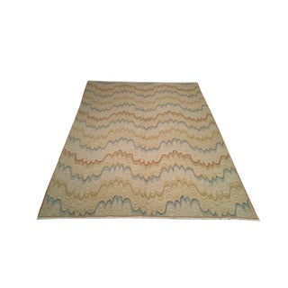 Transitional Vintage Wool Handmade Rug - 6′ × 8′5″ - Size Cat. 6x9