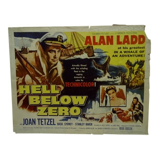 "Vintage Movie Poster ""Hell Below Zero"" Alan Ladd & Joan Tetzel 1954"