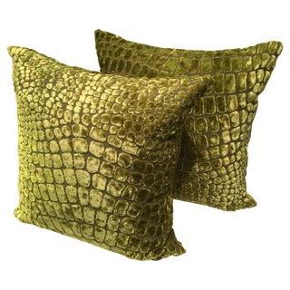 Lime Green Velvet Pillows - Pair