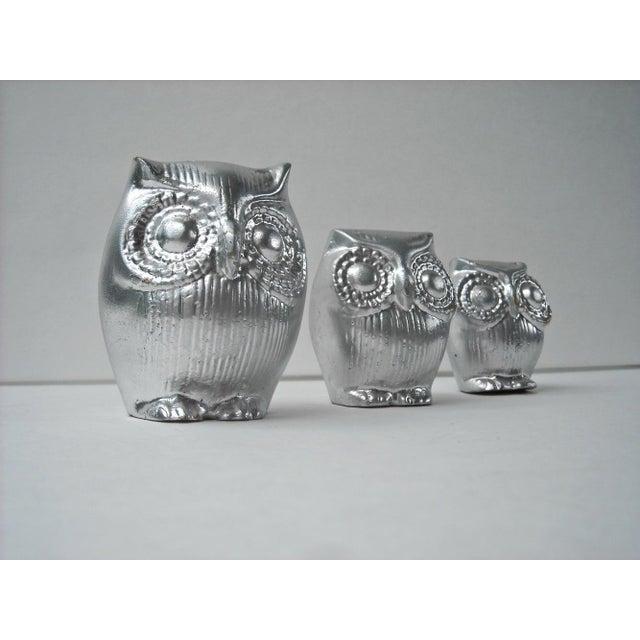 Mid-Century Silver Owl Figurines - Set of 3 - Image 2 of 5