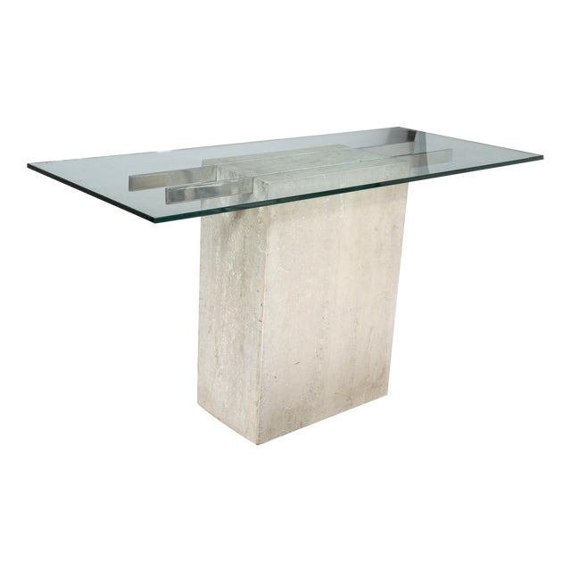 Image of Travertine and Chrome Console Table by Ello
