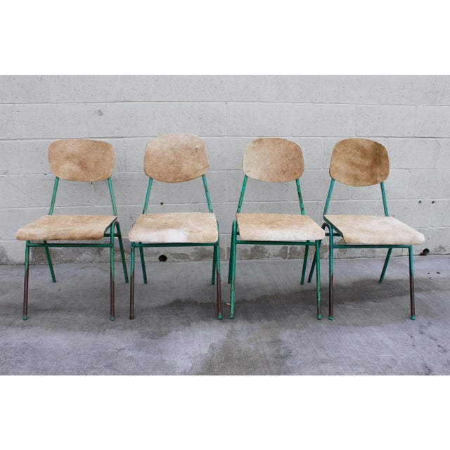 Vintage French Stacking Steel, Bentwood and Leather Schoolhouse Dining Chairs - Set of 4 - Image 3 of 11