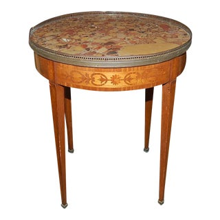 French Inlaid Bouillotte Table w/ Breccia Marble
