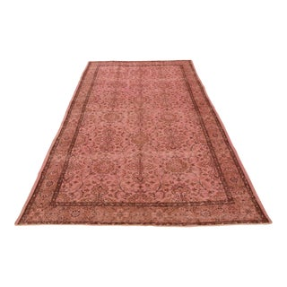 Vintage Turkish Handmade Overdyed Oushak Area Rug - 5′4″ × 9′5″