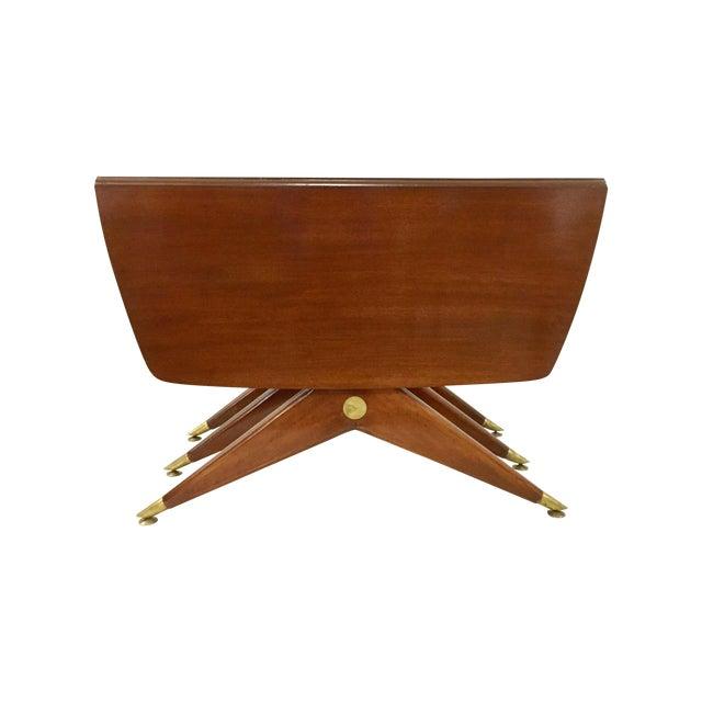 Gio Ponti Attr. Brass & Walnut Dining Table - Image 1 of 11