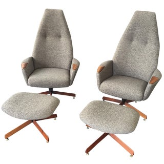 Adrian Pearsall Gray Chairs & Ottomans - A Pair