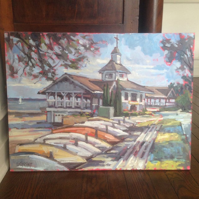"Bright, Multicolored ""Lakeside Pavilion"" Original Oil Painting - Image 2 of 11"