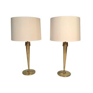 Pair of Stylish Mid-Century Modern Brass Lamps