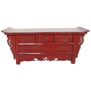 Antique Chinese Red Lacquer Coffer Chest