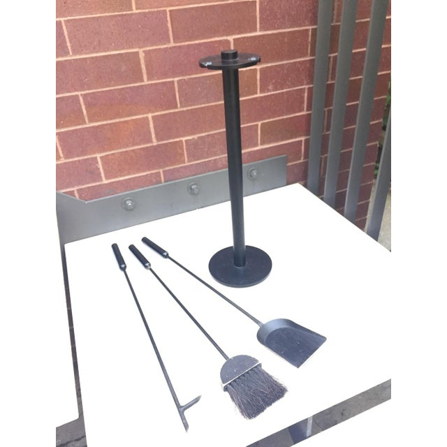 Contemporary Iron & Wood Fireplace Tools - Set of 4 - Image 5 of 5