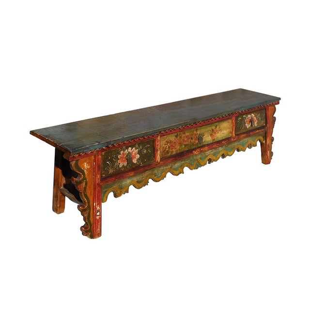 Image of Low Chinese Floral Altar Table