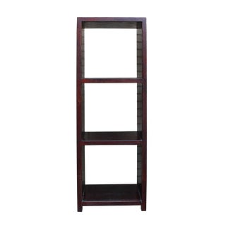 Chinese Distressed Brown Narrow Storage Display Bookcase