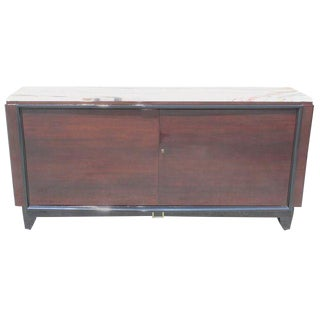 Fine French Art Deco Macassar Ebony Sideboard / Bar by Maurice Rinck Marble Top Circa 1940s.