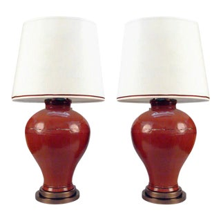 One Pair Chinese Lacquered Elm Grain Jars Table Lamps